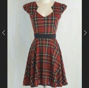 NWOT Modcloth Plaid and Subtract Dress Sz L